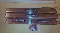 Светодиодные накладки на пороги Hyundai Solaris 2011-