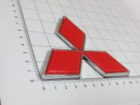 Эмблема шильдик логотип Mitsubishi красный на багажник, решетку 103x92 мм