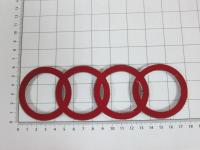 Эмблема шильдик логотип с клеевой основой Кольца для Audi 180х58 мм