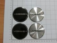 Ступичные наклейки на колпачки Vossen серебро или черный 65 мм (4шт)