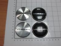 Ступичные наклейки на колпачки Vossen серебро или черный 56 мм (4шт)