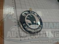 Эмблема шильдик логотип Skoda 6Y7853621 на багажник 80 мм