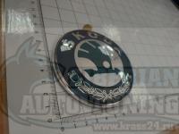 Эмблема шильдик логотип Skoda 6Y7853621 на багажник 90 мм