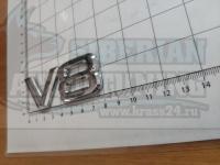 Шильдик с клеевой основой V8 хром на багажник 80*30мм