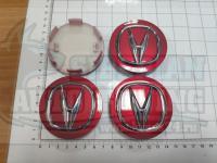Ступичные колпачки ЦО Acura красные 3D 69 мм черные (Цена за 4шт)