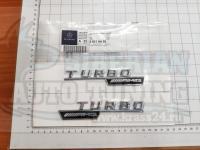 Эмблема на крыло Turbo AMG серебро Mercedes-Benz 142*27 (2 шт)