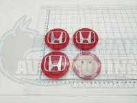 Ступичные колпачки ЦО Honda красные 3D 69 мм черные (Цена за 4шт)