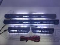Накладки на пороги перелевающие Premium Line для BMW F10 белый