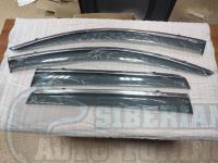 Mitsubishi Outlander 2013+ Оригинальные Дефлекторы окон, Ветровики с молдингом из нержавеющей стали