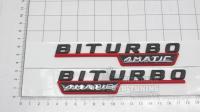 Шильдики Biturbo 4matic на крылья черный с красными вставками 140*25 (пара)