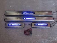Светодиодные накладки на пороги Mazda Demio 2007-2016 (3 и 4 поколения)