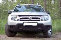 Защитная сетка и заглушка переднего бампера (с дхо без обвеса) Renault Duster 2010-2014