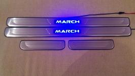 Светодиодные накладки на пороги Nissan March